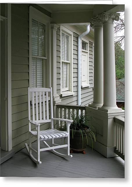 Charleston South Carolins Side Porch With Doric Columns Greeting Card by Richard Singleton