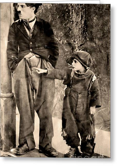 Charlie Chaplin And The Kid Greeting Card