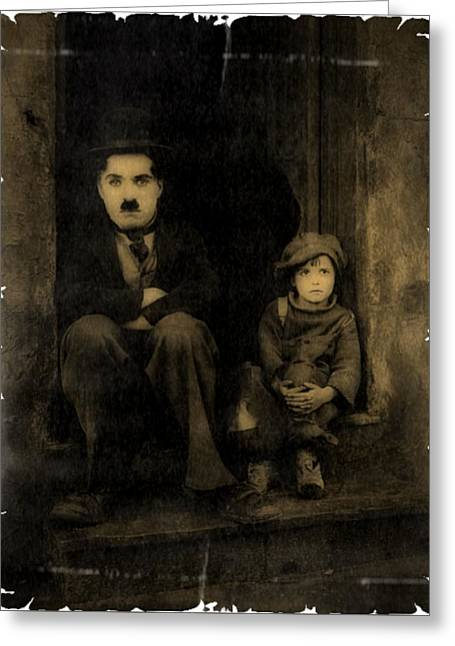 Charlie Chaplin And The Kid Vintage Style Greeting Card