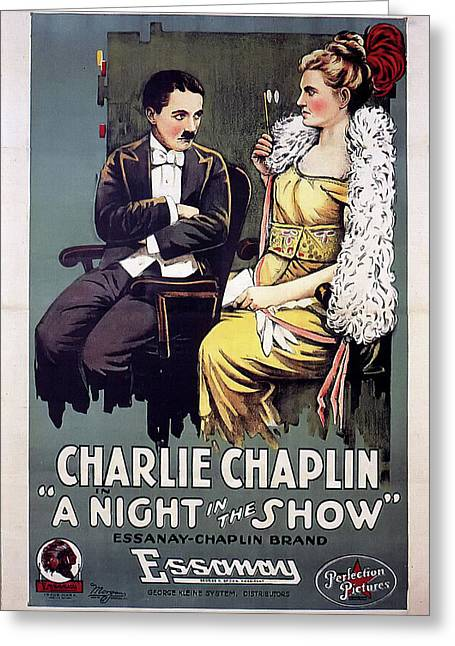 Charlie Chaplin In A Night In The Show 1915 Greeting Card