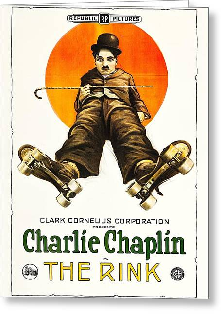 Charlie Chaplin In The Rink 1922 Greeting Card