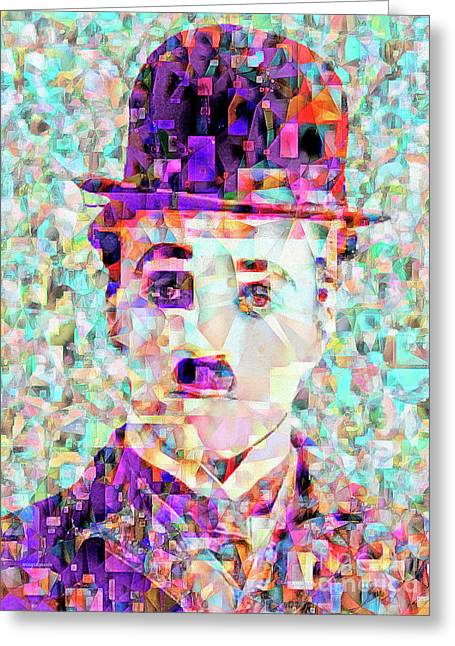 Charlie Chaplin The Tramp In Abstract Cubism 20170403 Greeting Card by Wingsdomain Art and Photography