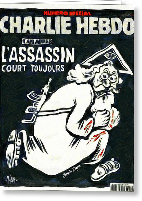 Charlie Hebdo One Year Later Greeting Card by Leonardo Digenio