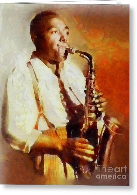 Charlie Parker, Music Legend Greeting Card by Sarah Kirk