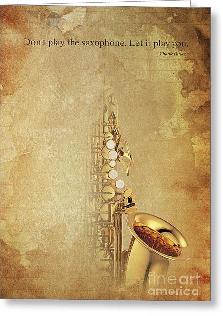 Charlie Parker Saxophone Brown Vintage Poster And Quote, Gift For Musicians Greeting Card by Pablo Franchi
