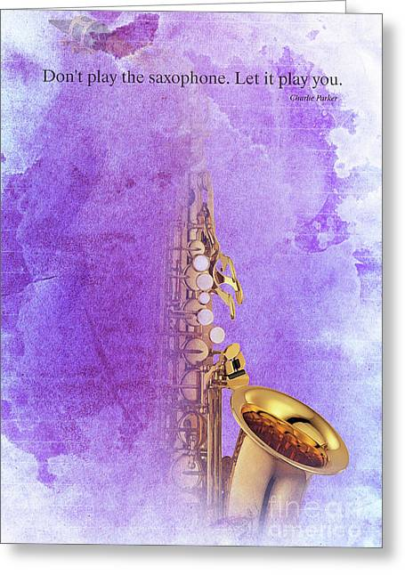 Charlie Parker Saxophone Purple Vintage Poster And Quote, Gift For Musicians Greeting Card by Pablo Franchi