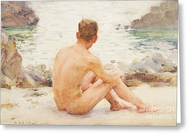 Charlie Seated On The Sand Greeting Card by Henry Scott Tuke