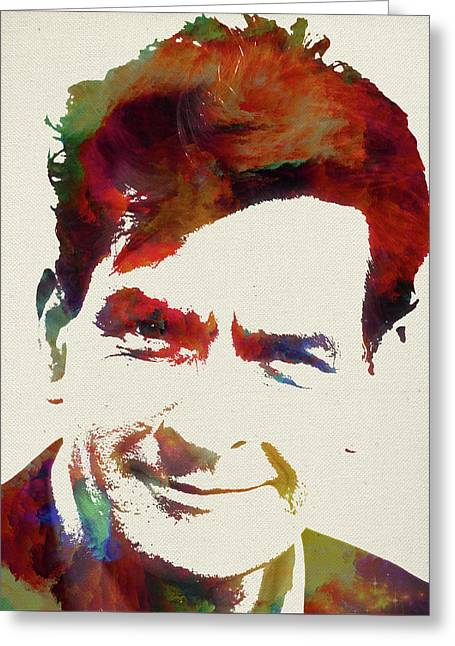 Charlie Sheen Watercolor Portrait Greeting Card by Design Turnpike