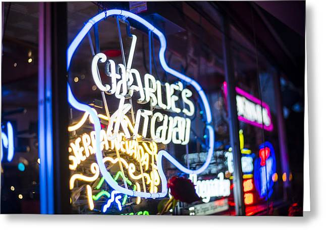 Charlie's Kitchen Neon Signs Harvard Square Cambridge Greeting Card
