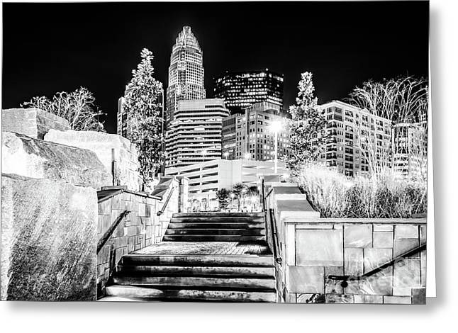 Charlotte At Night Black And White Photo Greeting Card