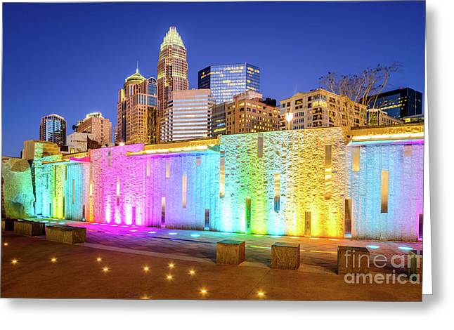 Charlotte At Night Blue Dusk Sky Photo Greeting Card by Paul Velgos