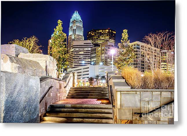 Charlotte At Night With Romare Bearden Park Greeting Card by Paul Velgos