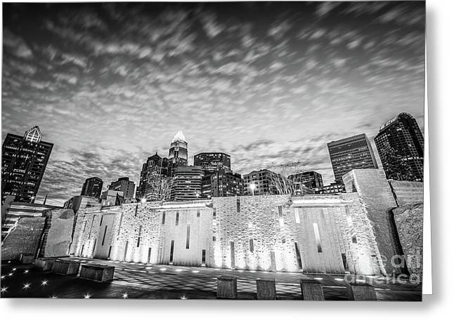Charlotte Bearden Park Waterfall Black And White Picture Greeting Card by Paul Velgos