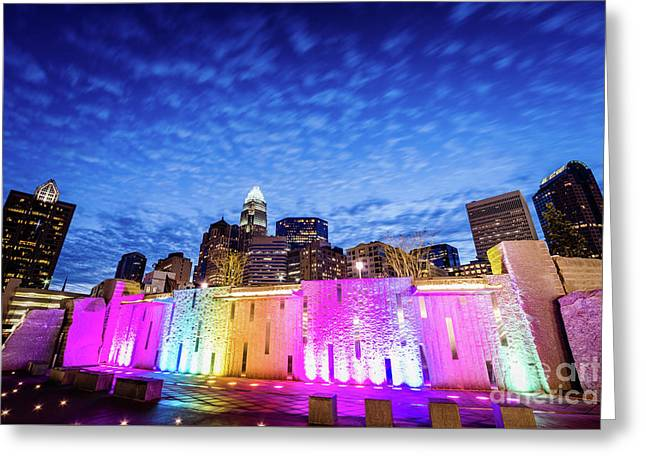 Charlotte Bearden Park Waterfall Fountain At Night Greeting Card by Paul Velgos