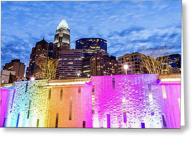 Charlotte Bearden Park Waterfall Fountain Panorama Greeting Card by Paul Velgos