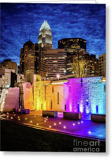 Charlotte Cityscape And Bearden Park Waterfall Wall At Night Greeting Card