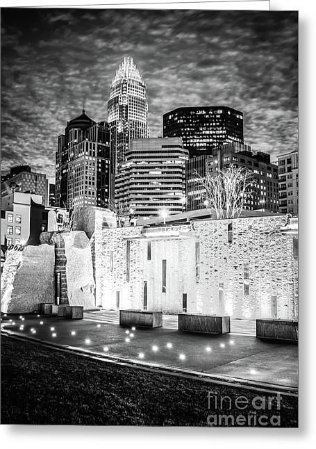 Charlotte Cityscape At Night Black And White Photo Greeting Card by Paul Velgos