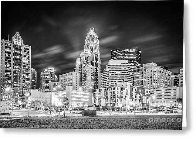 Charlotte Cityscape Black And White Photo Greeting Card by Paul Velgos