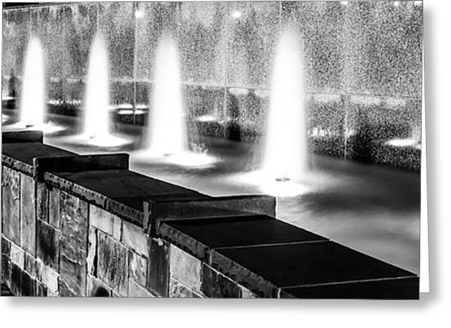 Charlotte Fountain Black And White Panorama Photo Greeting Card by Paul Velgos
