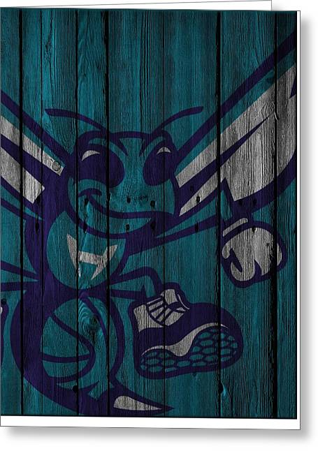 Charlotte Hornets Wood Fence Greeting Card by Joe Hamilton