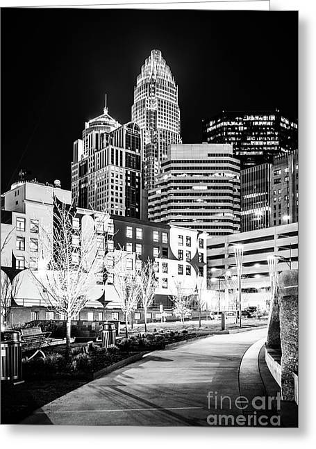 Charlotte Nc At Night Black And White Photo Greeting Card by Paul Velgos