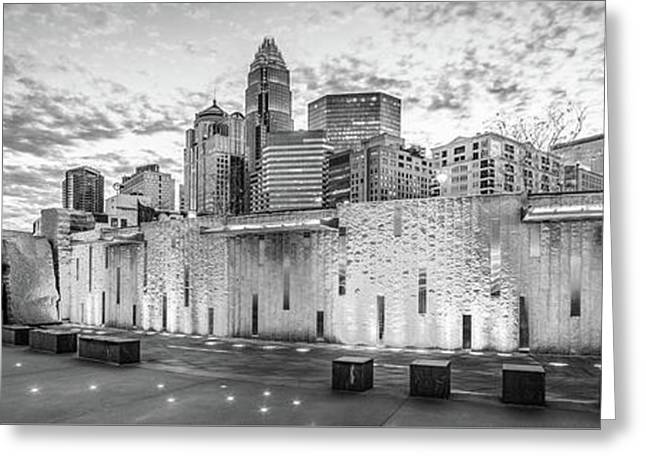 Charlotte Nc Black And White Panoramic Picture Greeting Card