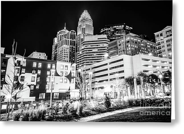 Charlotte Nc Downtown Black And White Photo Greeting Card by Paul Velgos
