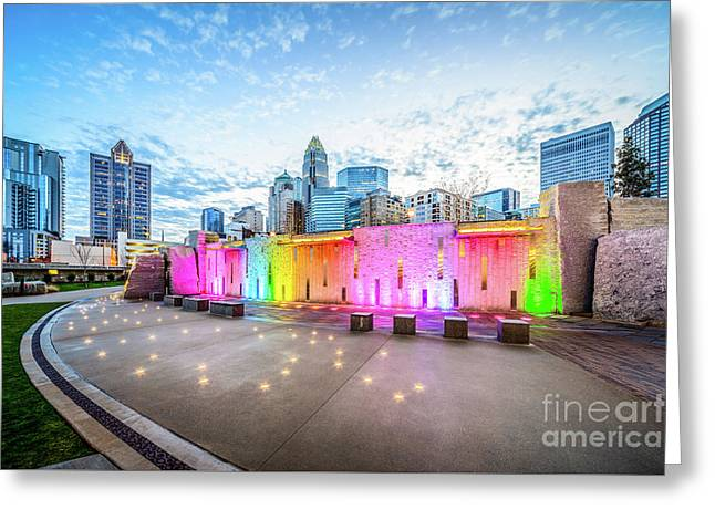 Charlotte Nc Skyline And Bearden Park At Dusk Greeting Card