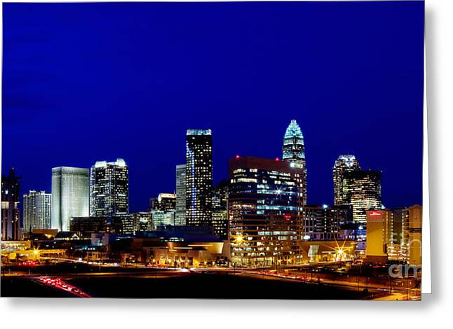 Nc Fine Art Greeting Cards - Charlotte NC Skyline at dusk Greeting Card by Patrick Schneider