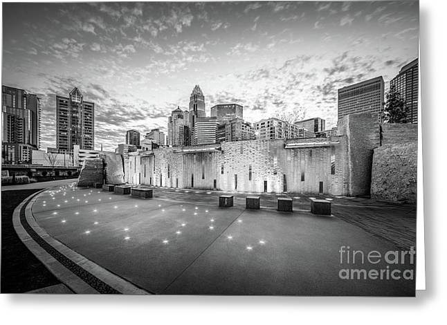 Charlotte Nc Skyline Black And White Photo Greeting Card