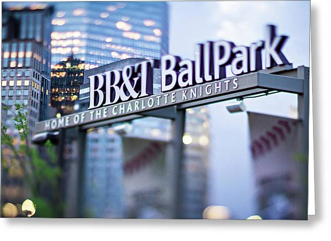 Charlotte Nc Usa  Bbt Baseball Park Sign  Greeting Card