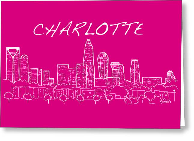 Charlotte Nc With Text View From The East Greeting Card by Robert Yaeger