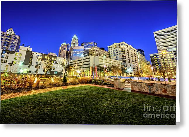 Charlotte North Carolina At Night Greeting Card by Paul Velgos