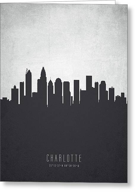Charlotte North Carolina Cityscape 19 Greeting Card by Aged Pixel