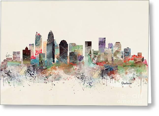 Charlotte North Carolina Skyline Greeting Card