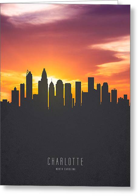 Charlotte North Carolina Sunset Skyline Greeting Card