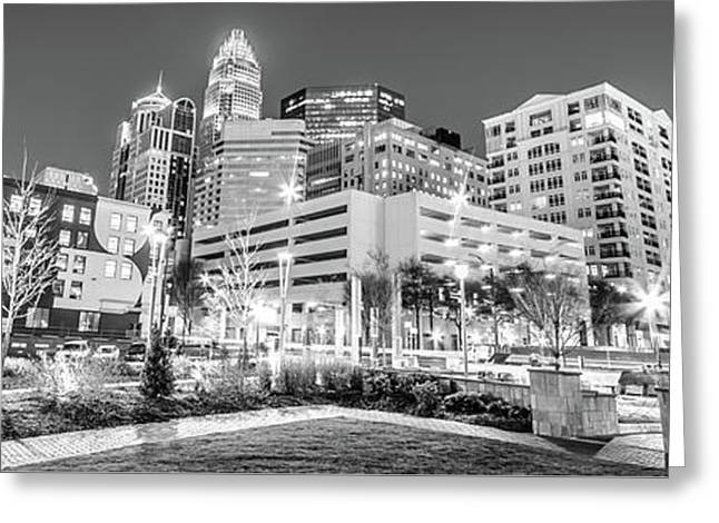 Charlotte Panorama Black And White Image Greeting Card by Paul Velgos