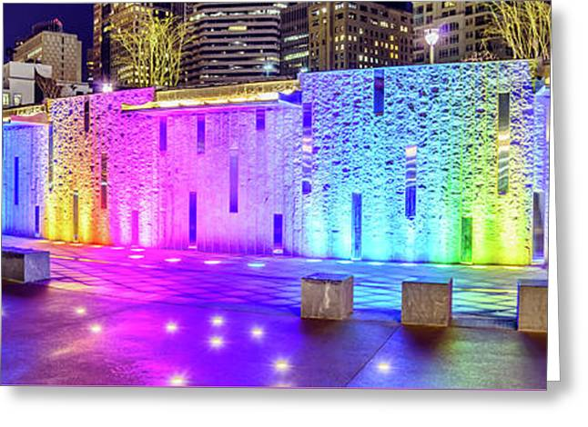 Charlotte Romare Bearden Park Waterfall Wall Panorama Photo Greeting Card by Paul Velgos