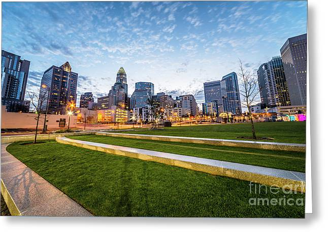 Charlotte Skyline And Bearden Park At Dusk Greeting Card by Paul Velgos