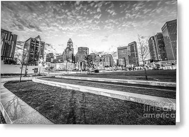 Charlotte Skyline And Bearden Park Black And White Photo Greeting Card by Paul Velgos