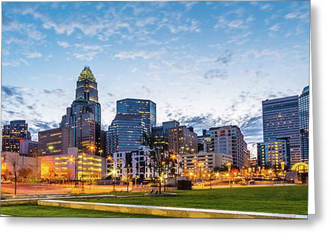 Charlotte Skyline And Bearden Park Panorama Photo Greeting Card by Paul Velgos