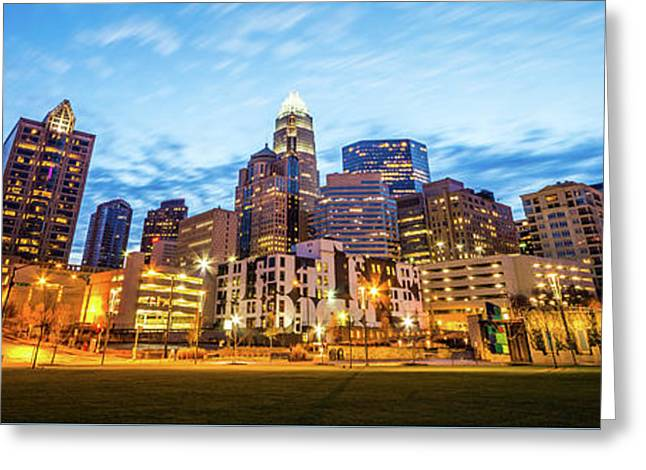 Charlotte Skyline At Dusk Panorama Photo Greeting Card by Paul Velgos