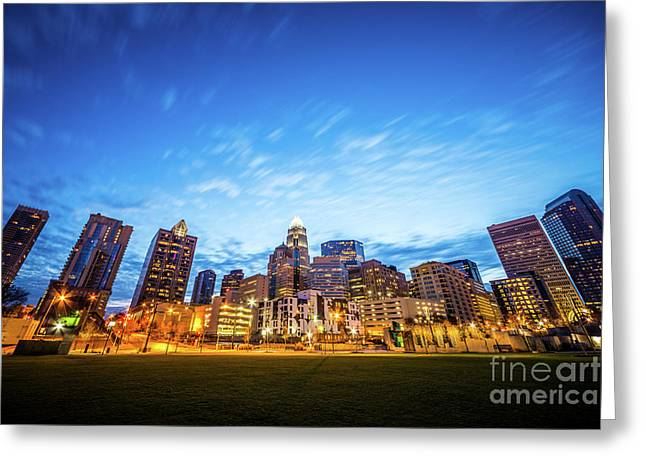 Charlotte Skyline At Dusk With Romare Bearden Park Greeting Card by Paul Velgos