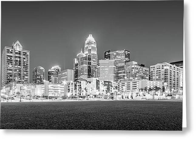 Charlotte Skyline At Night Panorama In Black And White Greeting Card
