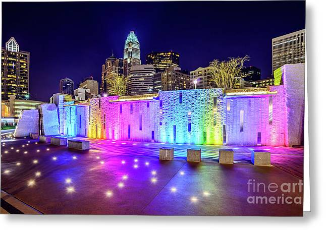 Charlotte Skyline At Night With Romare Bearden Park Greeting Card by Paul Velgos