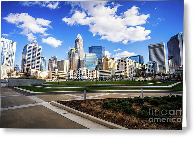 Charlotte Skyline At Romare Bearden Park Greeting Card by Paul Velgos