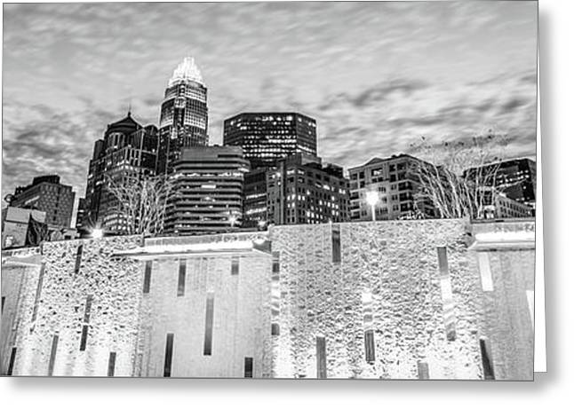 Charlotte Skyline Bearden Park Black And White Panorama Greeting Card by Paul Velgos