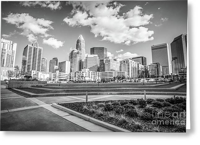 Charlotte Skyline Black And White Image Greeting Card by Paul Velgos
