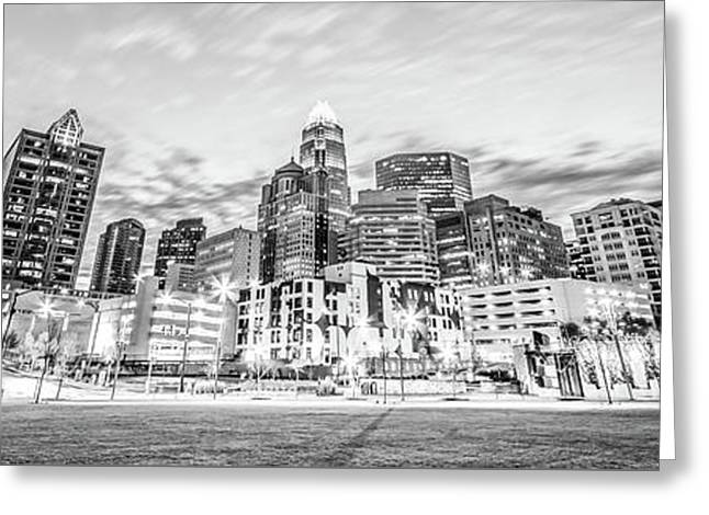 Charlotte Skyline Black And White Panorama Photo Greeting Card by Paul Velgos