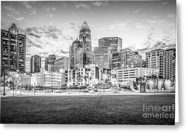 Charlotte Skyline Black And White Photo Greeting Card